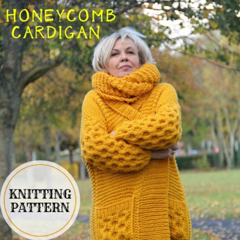 2b78fe80f96f3a Honeycomb Sleeve Cardigan Chunky Cardigan Knitting Pattern