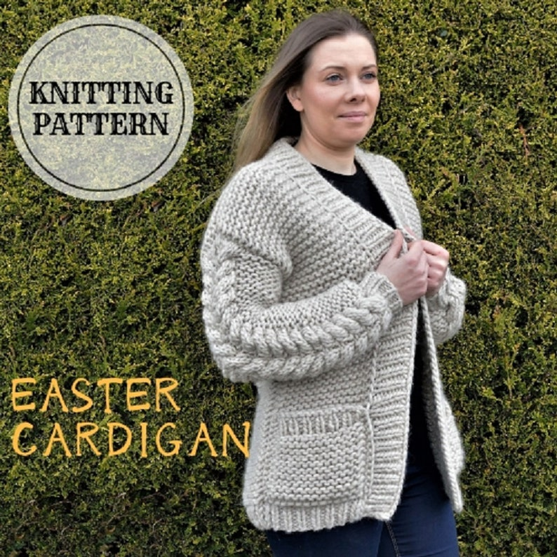 0bf4377bf Cable Chunky Cardigan Knitting Pattern Easter Cardigan