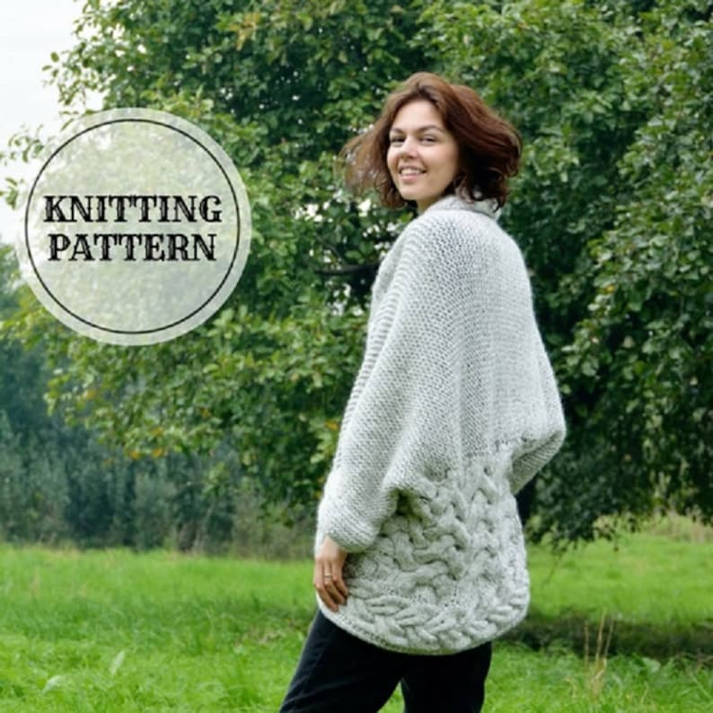 a3a1a7b48 KNITTING PATTERN Oversized Shrug Bolero Knitting Pattern