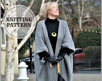 Over Size Cardigan Knitting Pattern  Knit Sweater  Chunky Cardigan  Fringe Bottom Wrap Cardigan   Grey Cardigan