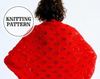 Red Leaf Cocoon, Shrug, Cardigan, PDF knitting Pattern, knitted Bolero, knitted Cocoon, knitted Cardigan, M size, L size