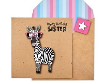 Zebra Birthday Card Etsy