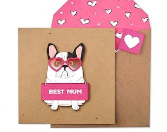 Handmade Frenchie Best Mum Card
