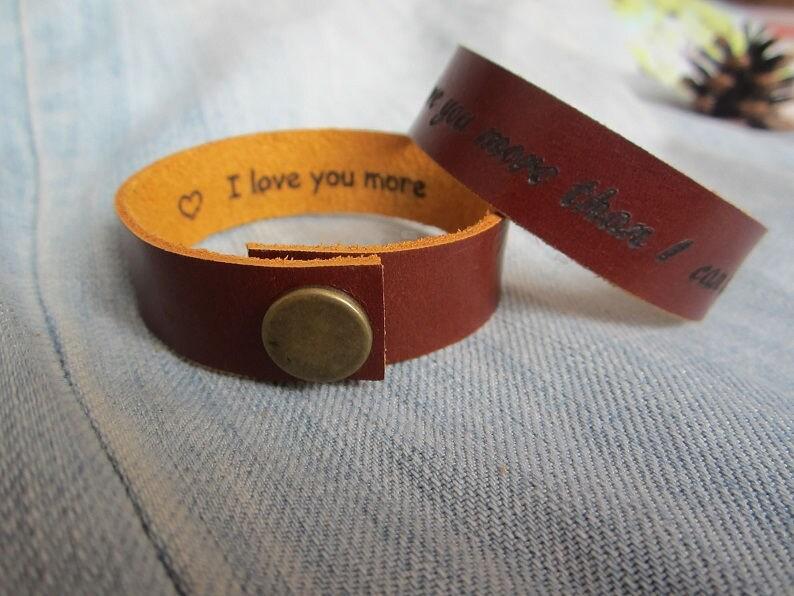 Hidden Message Bracelet,Custom Leather Bracelet,Personalized Leather Cuff,Secret Message Bracelet,Engraved Bracelet,Customized Cuff,Gift,4