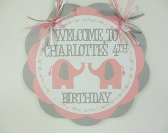 Elephant Door Welcome Sign Banner Birthday Party Baby Shower Pink Grey Silver