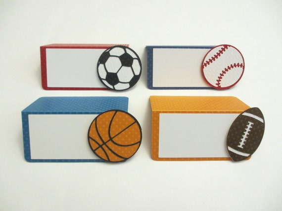 Sports Birthday Party Shower Food Buffet Tents / Place Cards Set of 6 Blue Red Orange Soccer Basketball Football Baseball & Sports Birthday Party Shower Food Buffet Tents / Place Cards Set of ...