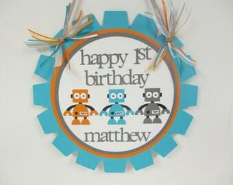 Robot Door Welcome Sign Banner Birthday Party Baby Shower Turquoise Blue Orange Grey