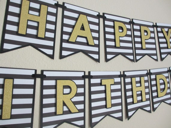 Happy Birthday Party Shower Banner Sign Black White Gold Glitter