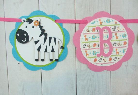 Safari Jungle Animal Birthday Party Baby Shower Banner Sign