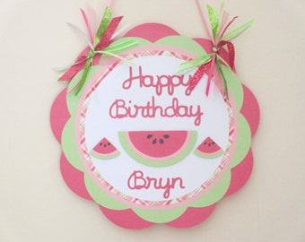 Watermelon Door Welcome Sign Banner Birthday Party Shower Pink Green Summer Picnic