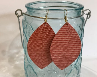 Classic size, salmon textured leather petal earring