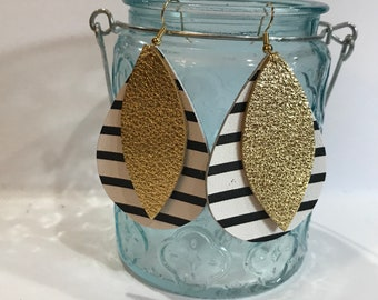 Classic size, Layered leather earrings.  Black and white stripe teardrop layered with metallic gold petal