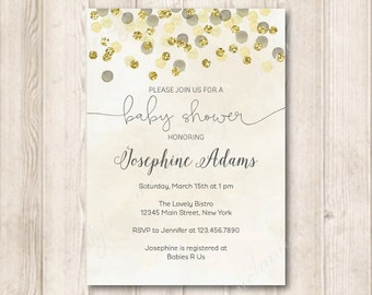 Gold Gender Neutral Baby Shower Invitation, Printable Modern Gold Gliiter and Yellow Watercolor Invites, 5x7 JPG