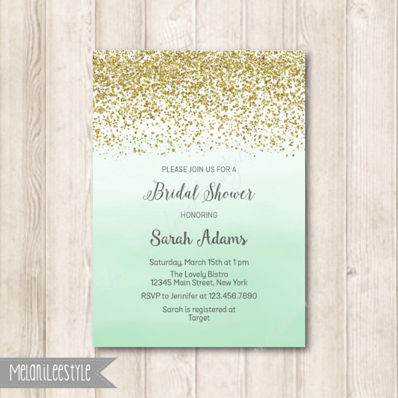 Gold And Mint Ombre Bridal Shower Invitation Gold Glitter And Watercolor Green Mint Printable Digital Invites 5x7 Jpg