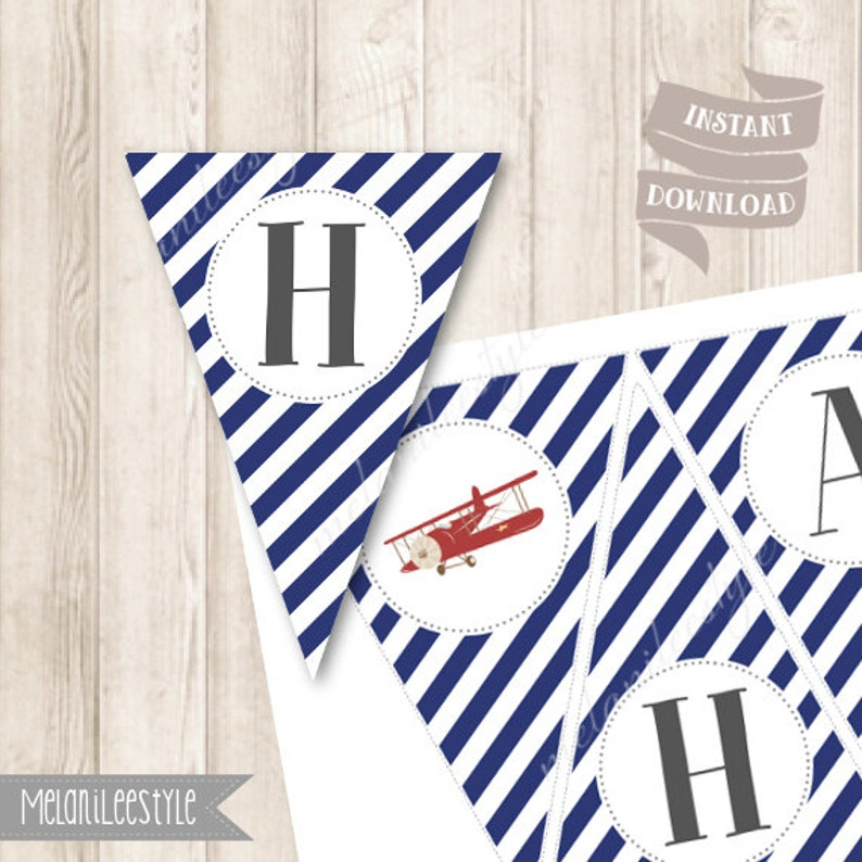 Red Airplane Happy Birthday Banner INSTANT DOWNLOAD Up Up and Away Party Decor Printable Vintage Aeroplane Red and Blue Stripes Bunting