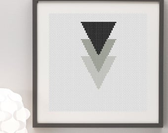 Geometric Greyscale Black and White Triangles Cross Stitch Pattern