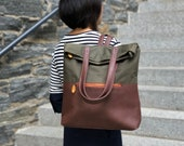 vegan leather backpack, diaper bag backpack, canvas backpack - our bestselling GREENPOINT convertible backpack purse
