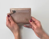 coin purse wallet, card holder wallet with coin pocket, simple minimalist wallet in vegan leather -  the BALTIC in black and rose gold
