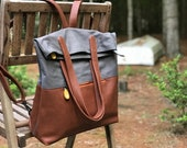 canvas backpack, rucksack, laptop bag, gift for wife  - GREENPOINT vegan backpack & convertible tote bag