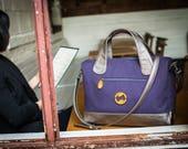 50% off! canvas messenger bag, messenger bag women, vegan messenger bag - the BEDFORD vegan handbag