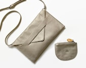 gift for girlfriend, gold clutch + coin purse, crossbody phone wallet, chic vegan gift set from CANOPY VERDE