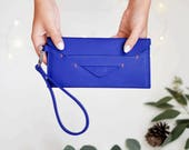 vegan leather wallet, long wallet, cash envelope wallet, minimalist wallet women - the DELANCEY wristlet wallet available in 3 colors