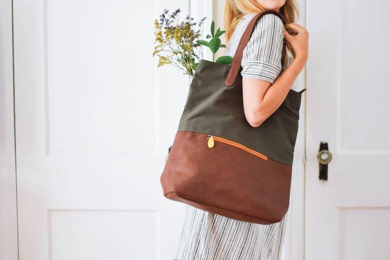 af4596a8b593 Vegan leather backpack diaper bag backpack new mom gift canvas ...