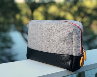 large makeup bag, travel toiletry bag & zipper pouch, gift for moms - the KANE (2 colors)