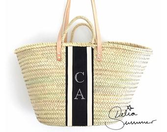 Strass Beach Monogram Basket *** custom made initials *** monogram straw bag, personalized tote