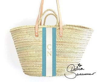 Strandtasche, beach monogram basket with embroidery *** custom made initials *** personalized straw bag, Korbtasche mit Initialen Monogramm