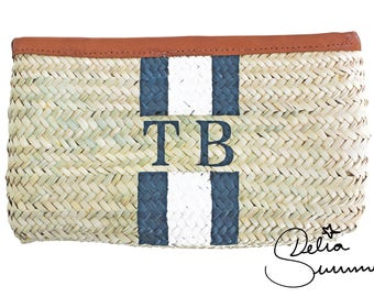 Monogram palm leaf clutch makeup bag +++ personalized initials +++