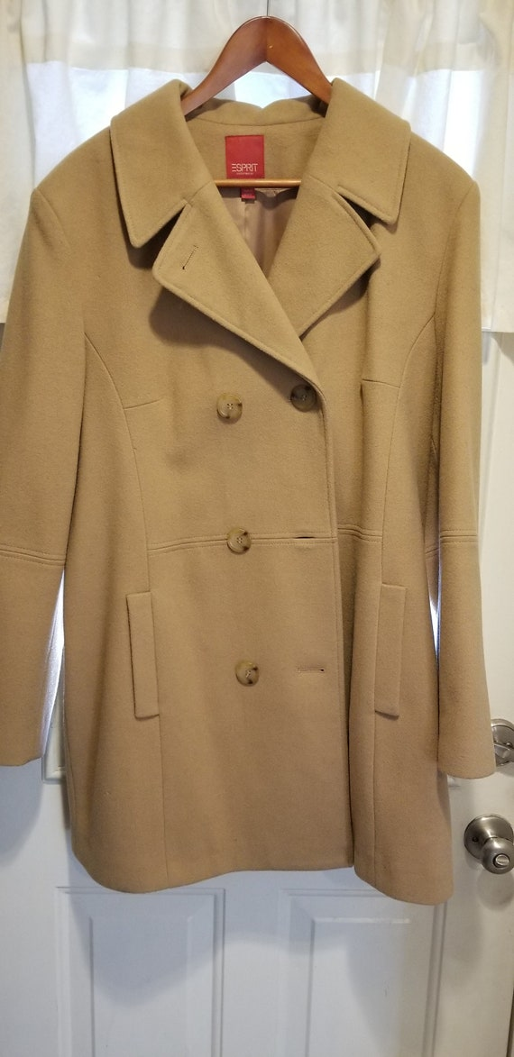 Vintage Esprit Camel color wool pea-coat size XL (