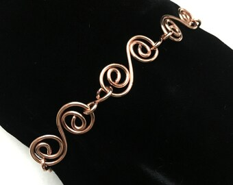 Copper Spiral Chain Link Bracelet