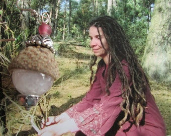 hippie handmade gemstone rozeqwarts dangle earrings