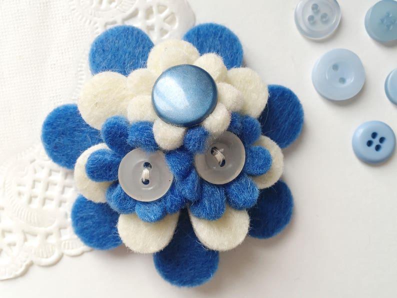 Blue and White Handmade Felt Flower Brooch image 0