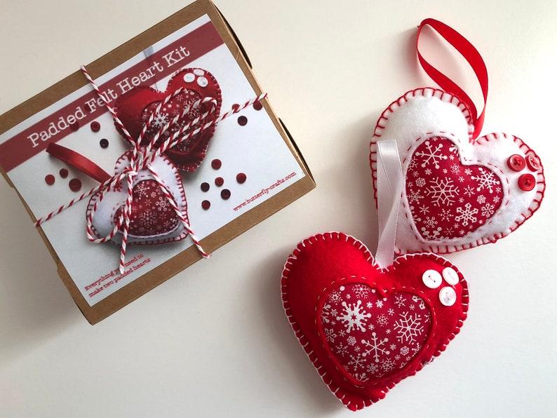 Scandi Christmas Heart Decoration Felt Craft Kit image 0