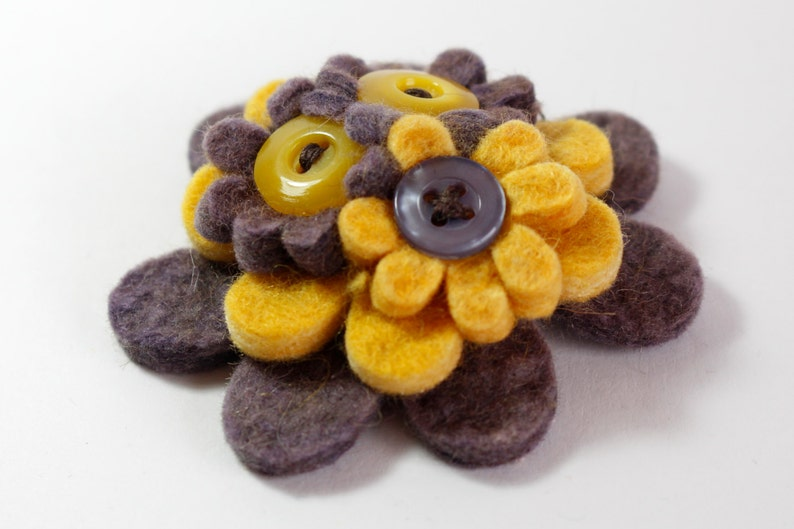 Grey and Yellow Handmade Felt Flower Brooch Pin image 0