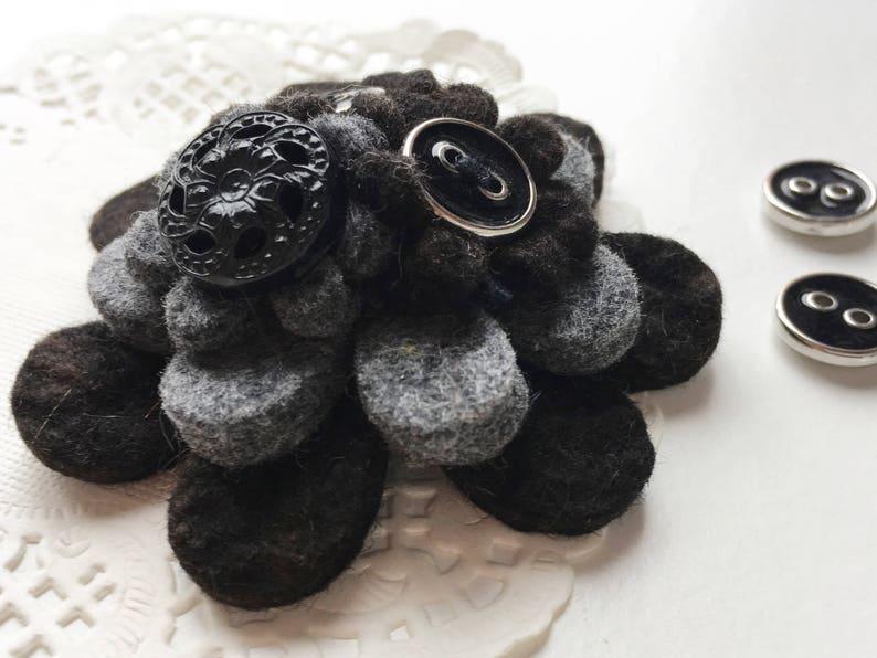 Black and Grey Handmade Felt Flower Button Brooch image 0