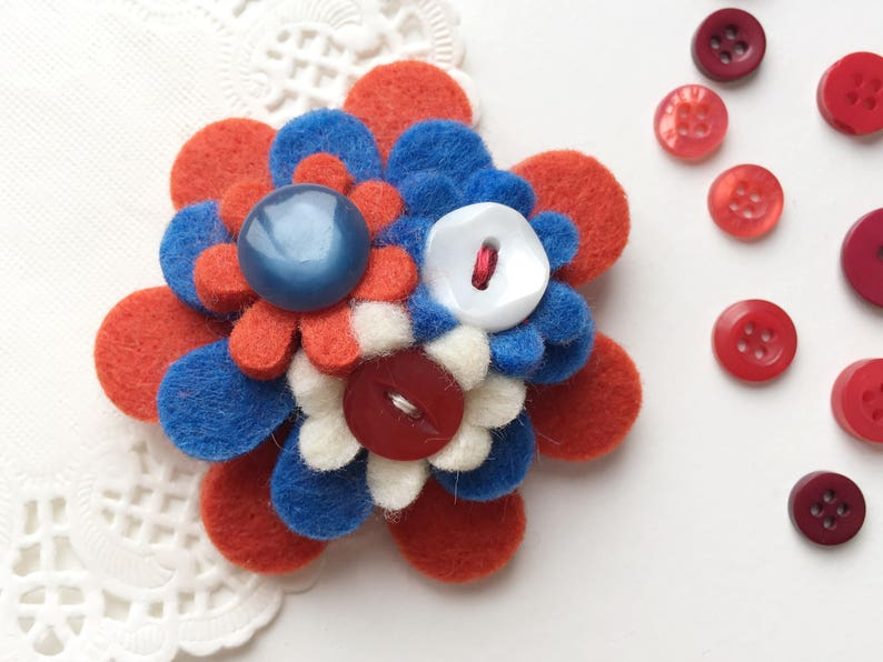 Red White and Blue Handmade Felt Flower Button Brooch image 0
