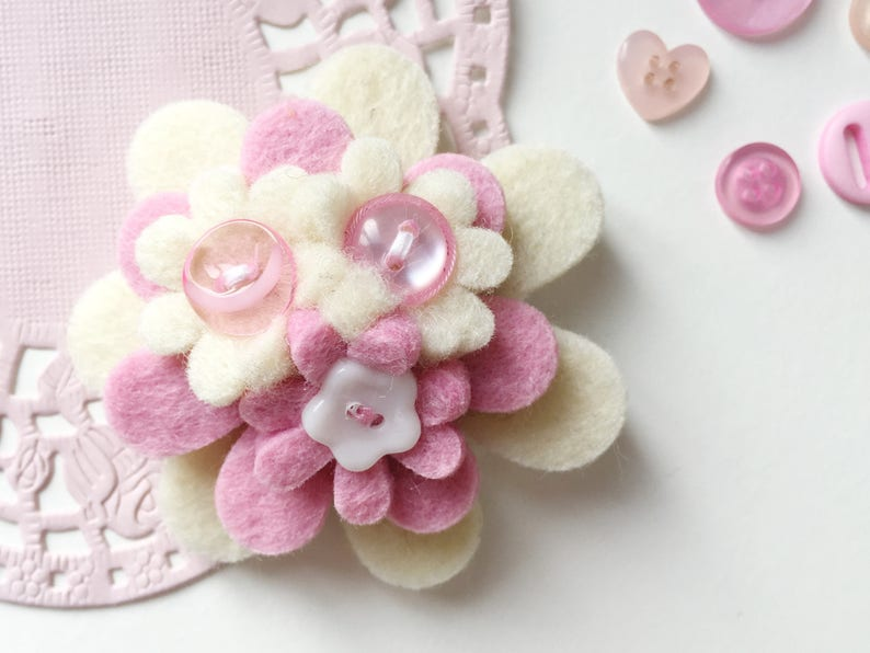 Pink and White Handmade Felt Flower Button Brooch image 0