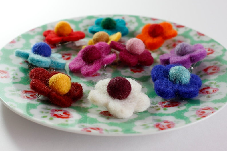 Mini Felt Flower Brooch Pin image 0