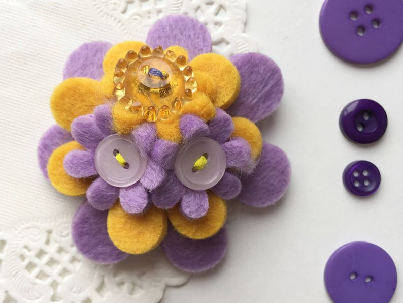 Lilac and Yellow Handmade Felt Flower Brooch Pin image 0