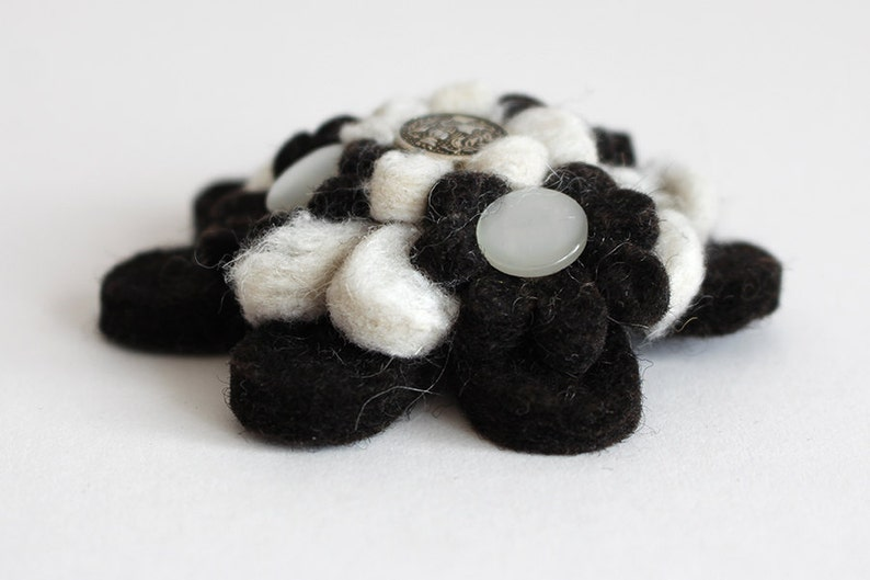 Black and White Handmade Felt Flower Brooch with Buttons image 0