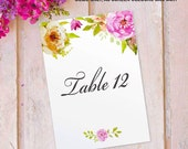 Table Number Name Cards Printed Wedding Tables 12 - 23, Vintage Floral design with Flowers, 12 pack FLC_04