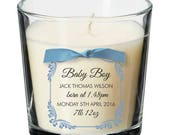 Baby boy girl newborn new arrival bundle personalised candle gift present 039