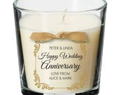 Wedding Anniversary present party personalised candle wife husband marriage gift 016