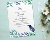 Christening Baptism invitations for boys for girls invites cards. Personalised bird vintage design. 10 Pack BDF_10