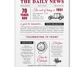 70th birthday present personalised gift. On the day you were born year 1951 poster newspaper A4 print for women her men