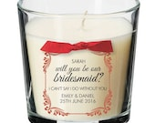 Will you be my bridesmaid personalised candle present wedding 007