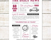 60th birthday present personalised gift. On the day you were born year 1960 poster newspaper A4 print for women her men